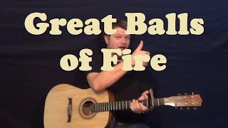 Great Balls of Fire (Jerry Lee Lewis) Guitar Lesson Easy Strum Chord How to Play Tutorial