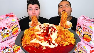 WE&#39RE BACK TOGETHER  EXTREMELY CHEESY CARBO FIRE NOODLES  Mukbang &amp Recipe