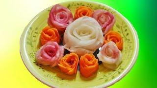 Розы  из овощей для украшения: из редьки,  моркови, огурцов🌹🌹🌹🌹🌹