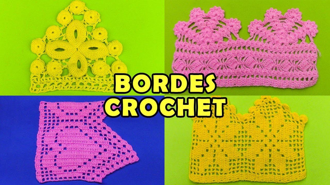 Bordes u Orillas tejidos a crochet - colección de puntos - YouTube