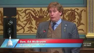 Sen. McBroom addresses the Senate on proposed