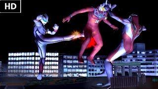 EVIL TIGA vs Ultraman LEO + Ultraman GAIA (HD)