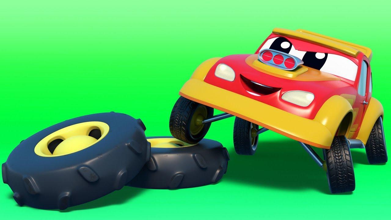 Dessin animés de camion - La voiture de course VOLE les ...