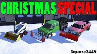 Farming Simulator 17 | Christmas Special | Snow Plowing | 3 Person Crew | Ram | Bobcat S770