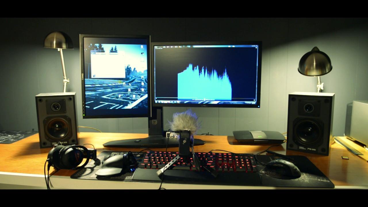 lepy lp-2024 and bookshelf speakers added to desk setup sound demo