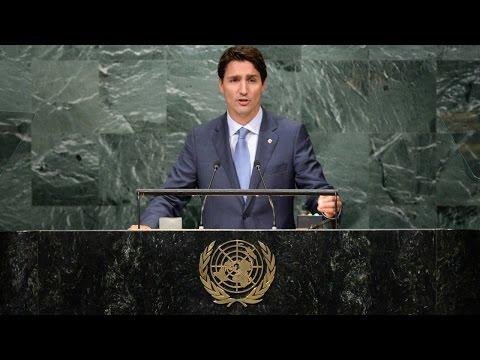 Trudeau's first UN speech: Pinterest platitudes in an empty hall