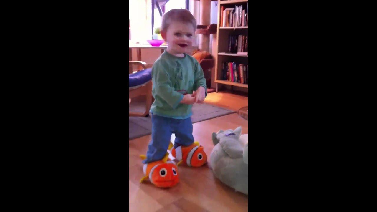7f3ff4e279aa1a Max in Nemo slippers - YouTube