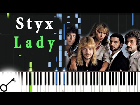 Styx - Lady [Piano Tutorial] Synthesia | passkeypiano