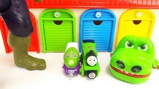 Thomas & Friends & Hulk & Tayo Bus Garage Toy Crocodile Monster Wooden Toy Story