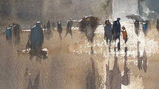 """Advancing with Watercolor: Boston """"Copley Square, in the Rain"""""""