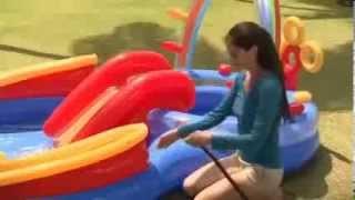 видео Детский надувной игровой комплекс с горкой радуга (intex)