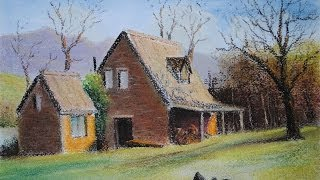 how to draw a farmhouse in pastel