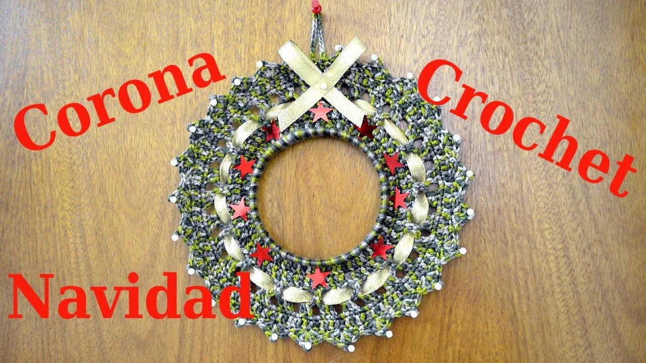 Tejer patrón para corona de Navidad