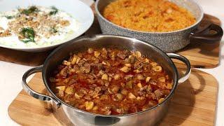 Etli Mantar Sote İle Akşam Yemeği Menüsü/Domatesli Bulgur Pilavı/Kabak yoğurtlu Meze/Seval Mutfakta