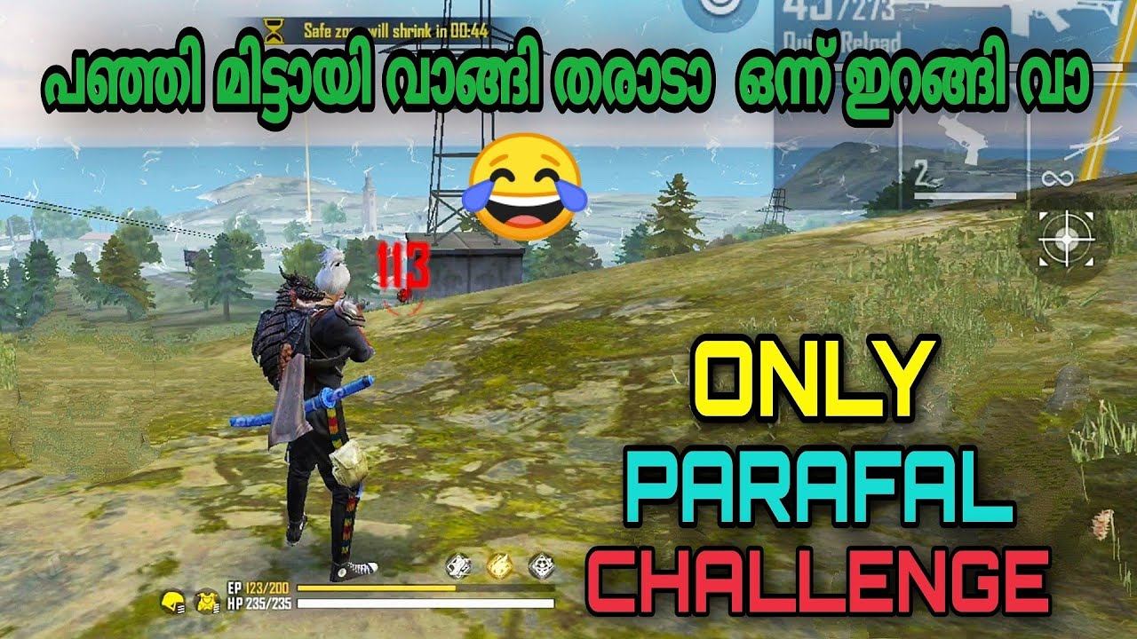 PARAFAL GUN CHALLENGE In Ranked Match | Only One PARAFAL GUN CHALLENGE || Garena Free Fire Malayalam