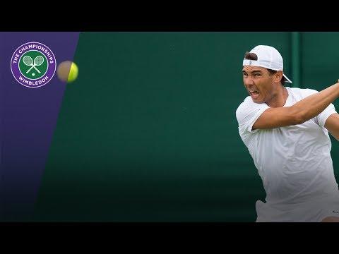 Rafael Nadal practises with Sascha Zverev at Wimbledon 2017