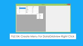 File 04 :C# DataGridView Event Right Click  Popup Menu [Win Forms] Manual Insert Code
