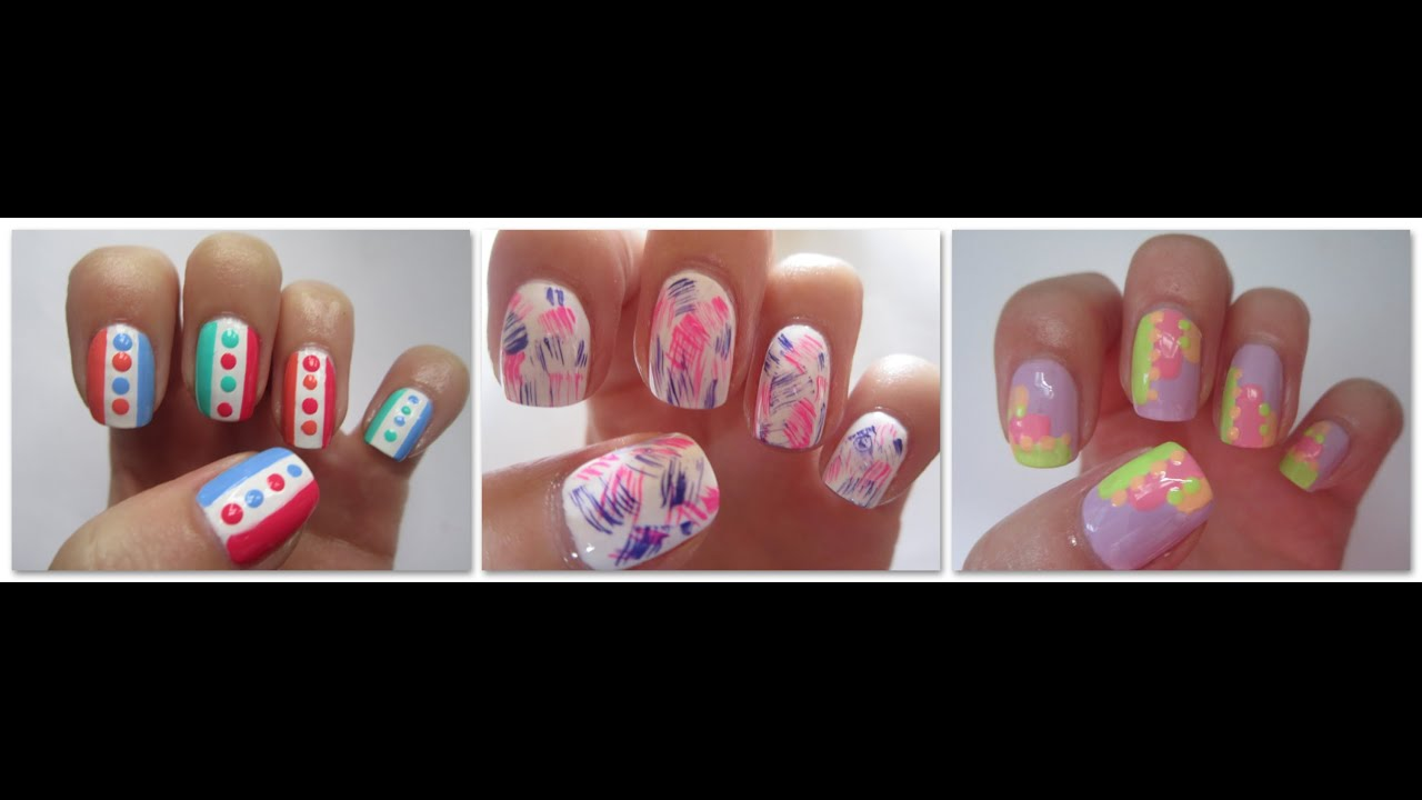 Three Easy Nail Art Designs Dry Brush Nails Step By Step Nail Art