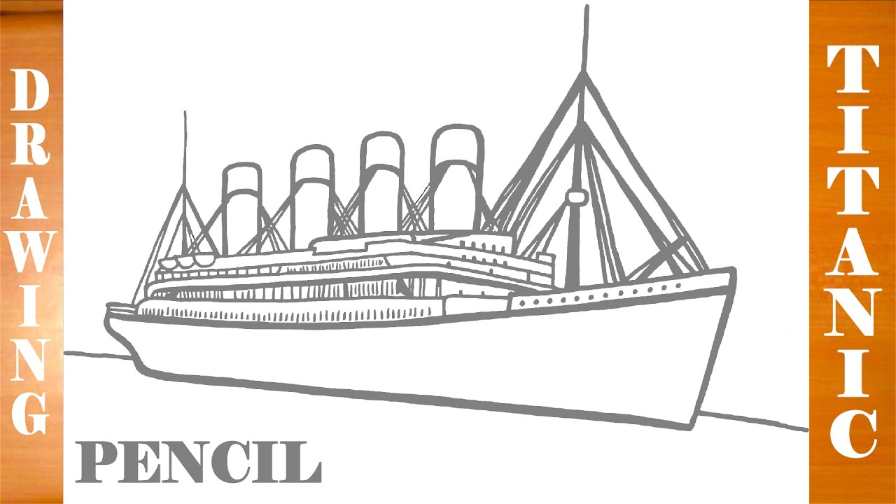 How to draw titanic ship easy for kids pencil mrusegoodart youtube - Titanic dessin ...
