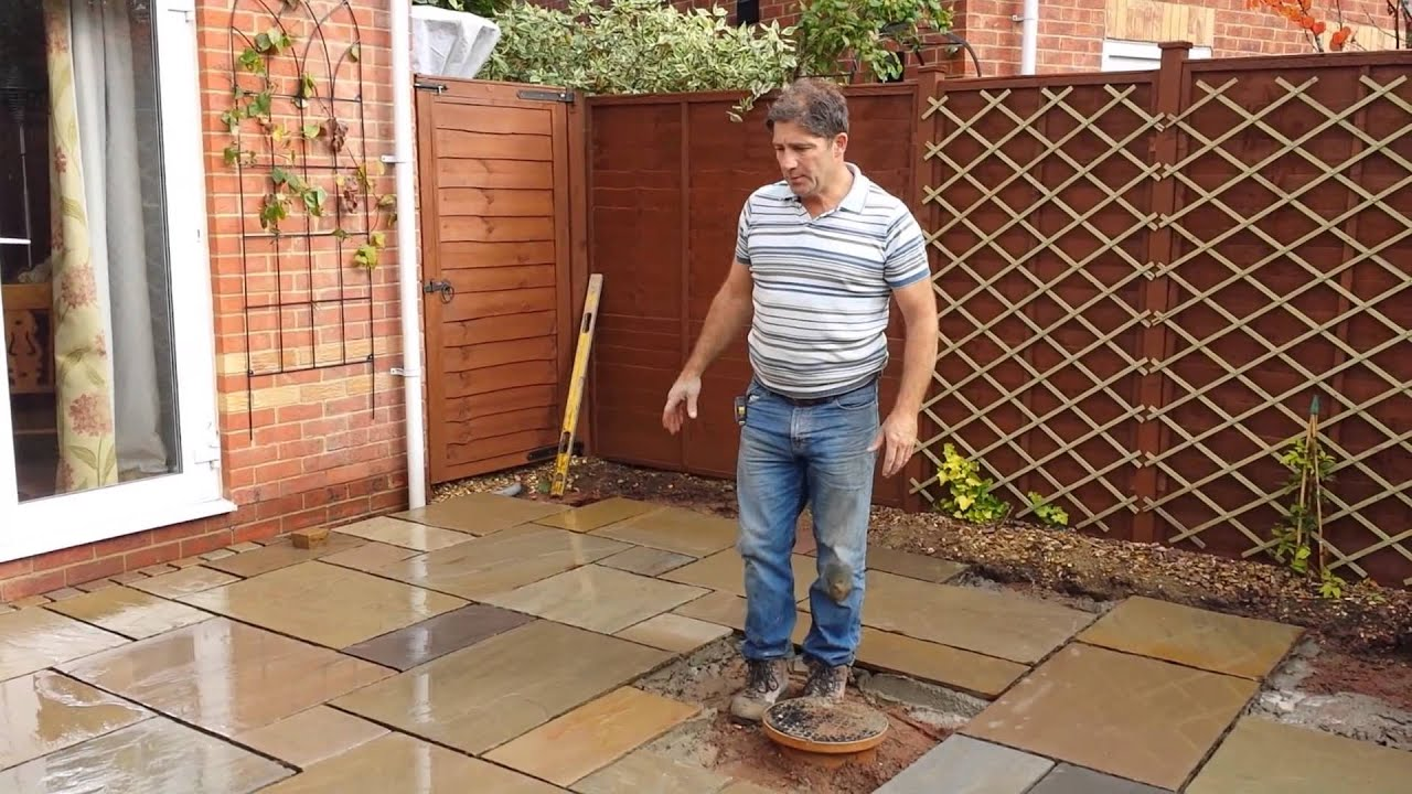 Laying An Indian Sandstone Patio - YouTube