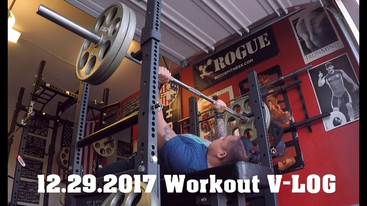 Bench press and accessory work garage gym athlete vlog youtube