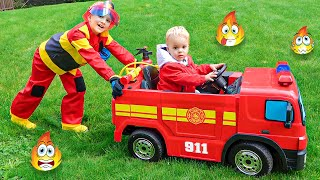 يتظاهر فلاد بلعب قصص ألعاب رجال الإطفاء للأطفال