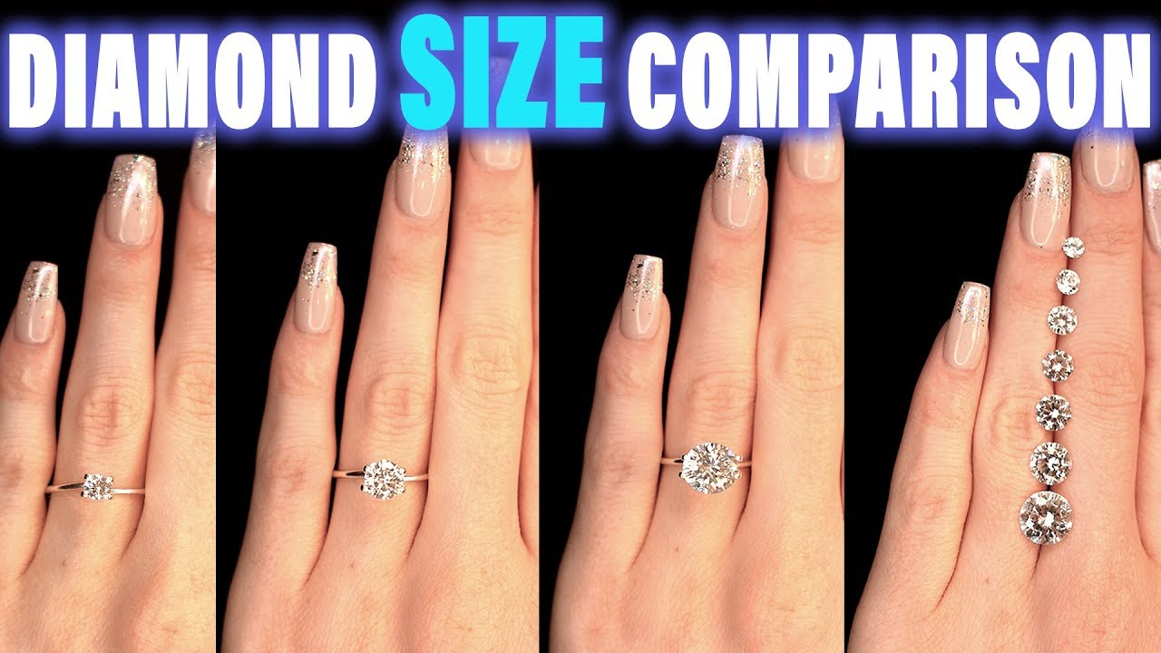 Diamond Size Comparison On Hand Finger Carat 1 2 3 4 0 5 Ct 0 25 0 75 1 5 0 3 0 8 0 7 0 6 0 4 9 1 2 Youtube