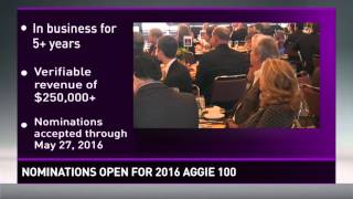 Nominations open for the 2016 Aggie 100
