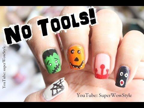 No Tools Nail Art CUTE Halloween Nail Designs (Beginners) - YouTube