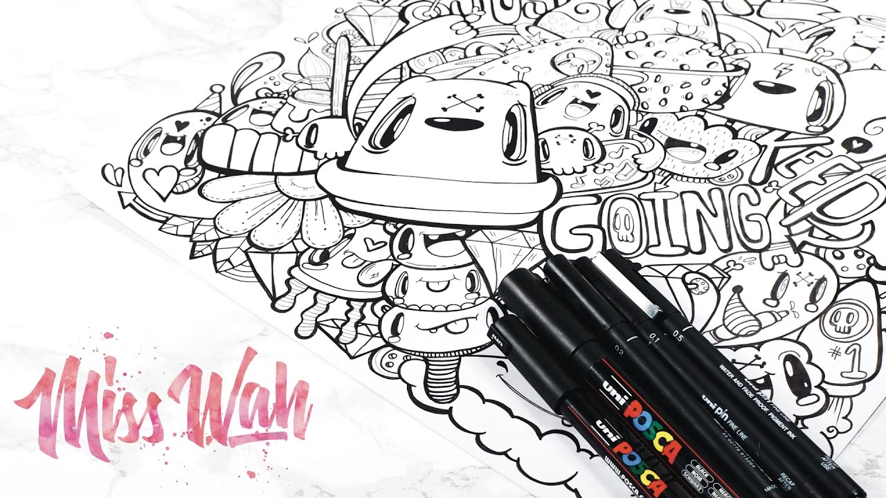 Posca Pens / Uniball Pin X Miss Wah | Full Page Cute Doodle! - YouTube