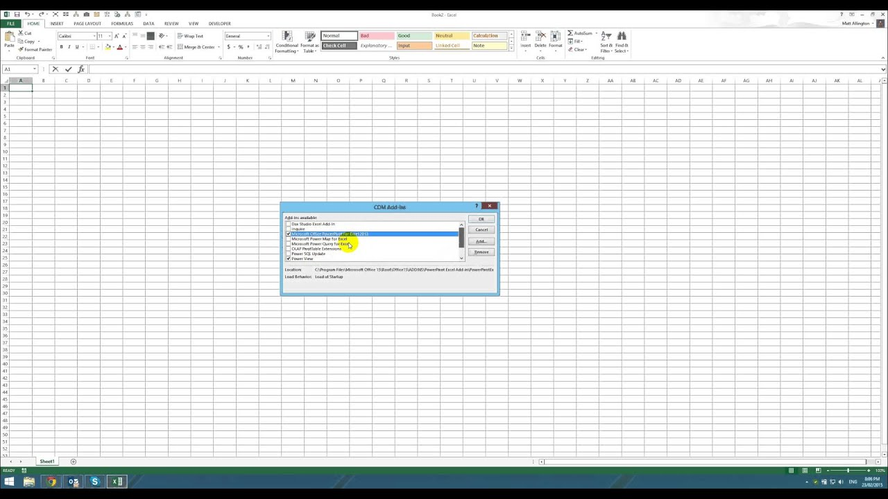 How to Check you have Power Pivot and Power Query Installed - 2013