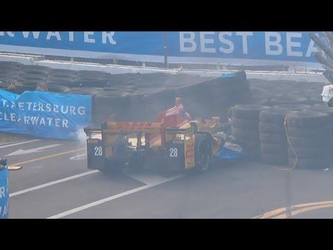 IndyCar Series 2017. Warm Up Firestone Grand Prix of St. Petersburg. Ryan Hunter-Reay Hard Crash