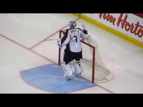 Semyon Varlamov warms up at the Avalanche @ Senators hockey game