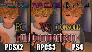 Kingdom Hearts HD 2.5 ReMIX - RPCS3 Vs PS4 vs Pcsx2 (Full Comparison) (PC Vs Console)