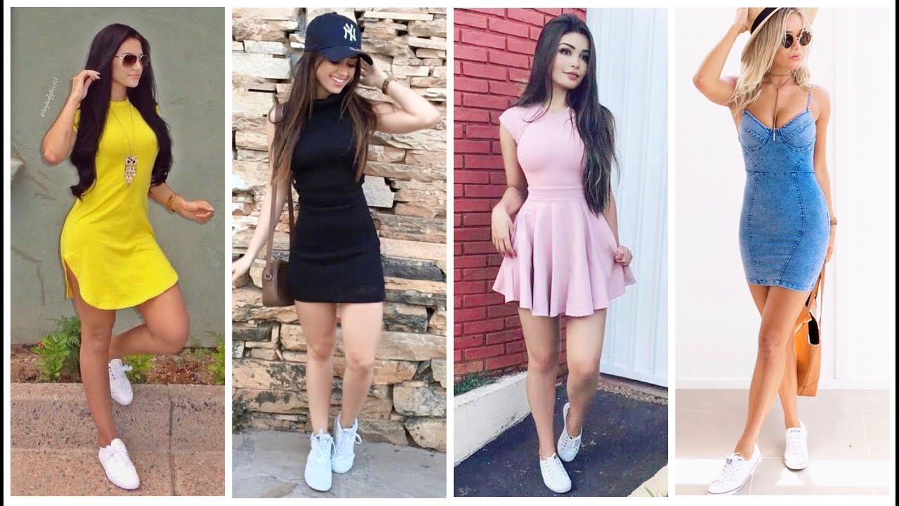 63 Outfits De Vestidos Con Tenis Moda 2020 Dressed In