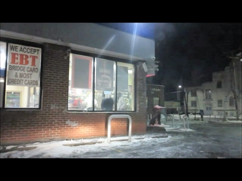 INSIDE A GHETTO GAS STATION AT NIGHT ON DETROIT