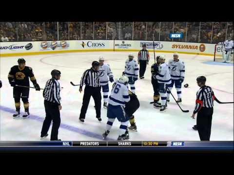 Adam McQuaid vs Pierre-Cedic Labrie fight Mar 2 2013 Tampa Bay Lightning vs Boston Bruins NHL Hockey