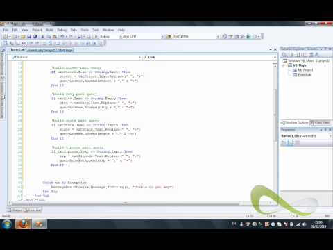 Visual Basic .NET Tutorial - How to add google maps in a VB programme Part 2/2 - codecall.net