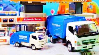 はたらくくるま おもちゃ アニメ ガソリンスタンドで大きくへんしん♪ パトカー 救急車 ごみ収集車 消防車が登場!