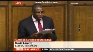 """Separate but equal is a fraud"" - David Lammy MP, Marriage (Same Sex Couples) Bill"