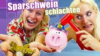 SPARSCHWEIN SCHLACHTEN Challenge - Kathi VS Ninas Wer kommt an die Moneten?Lino spacca Soldino Spiel