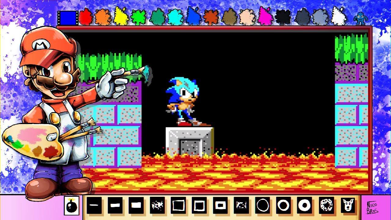Mario Paint Creations   Sonic the Hedgehog Pixel Art - YouTube