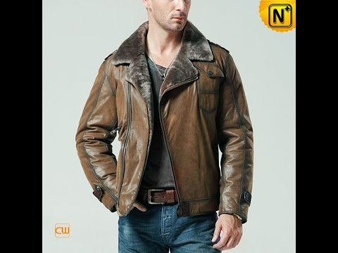 Men's Vintage Shearling Leather Jacket CW877049 | jackets.cwmalls.com