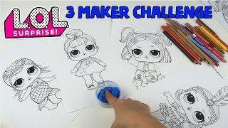LOL 3 Kalem Boyama Challenge! 1 Dakikada 3 MAKER CHALLENGE With LOL Surprise Bidünya Oyuncak