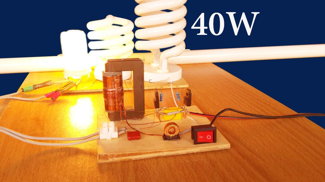 How To Make Simple Auto Power Inverter Circuit 40w Input 12vdc For 100w Variable Supply Circuits Fluorescent Lamp