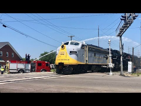 fire-truck-gives-steam-train-a-moving-car-wash!-c&o-2716-on-the-move!