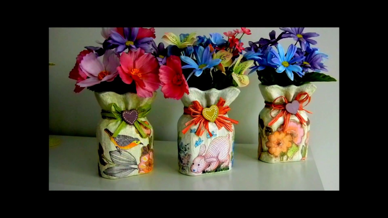 Decoupage Vase with Napkin Appliques , DIY Ideas Decorations Craft Tutorial