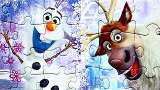 Холодное сердце Олаф и Свен собираем пазлы для детей с героями мультика Frozen 2