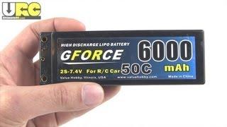 GForce 6000 mAH 50C 7.4V 2S hardcase LiPo review