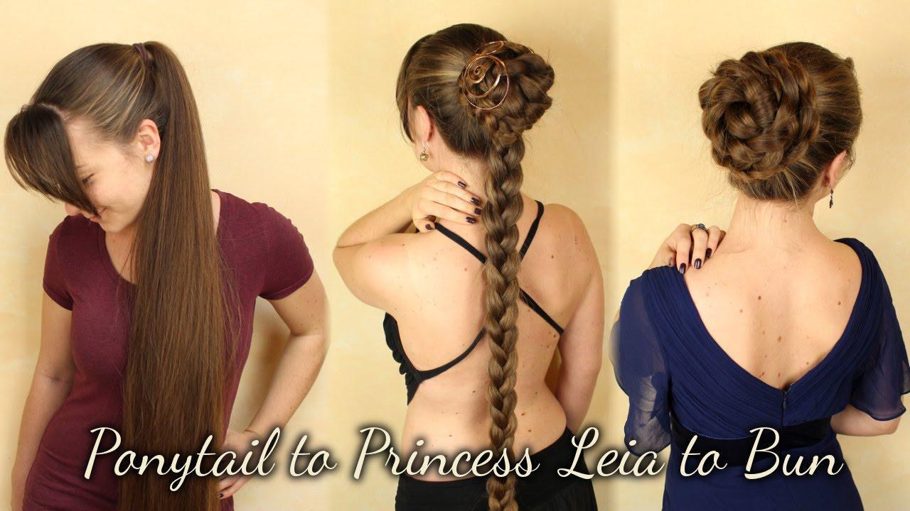 high ponytail to princess leia hair to elegant bun youtube